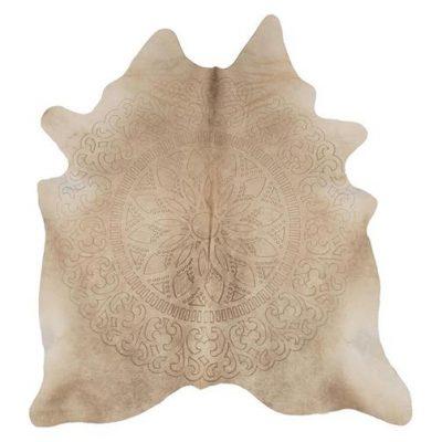cream cowhide rug - laser etched