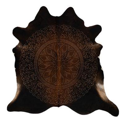 dark brown cowhide rug bohemian