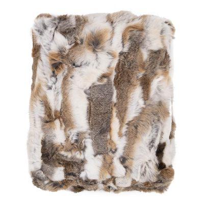 rabbit fur blanket - white & brown