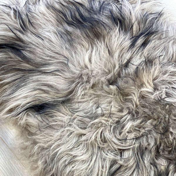icelandic sheepskin taupe black tip