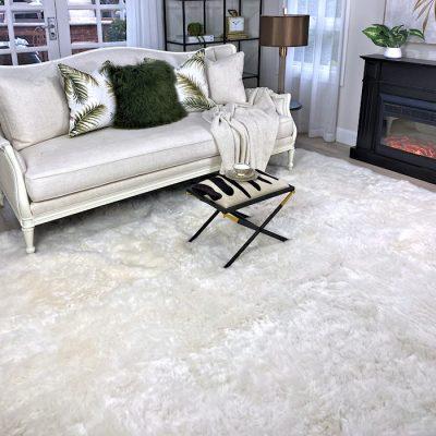 large sheepskin rug white icelandic shorn