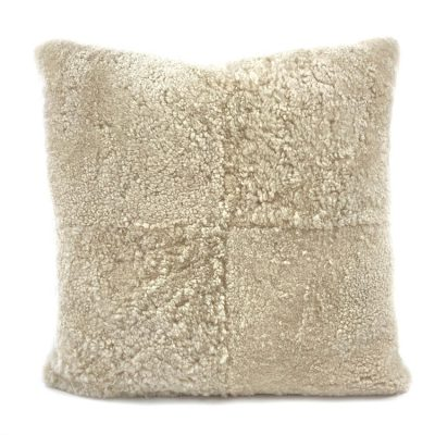 large square cushion shearling beige