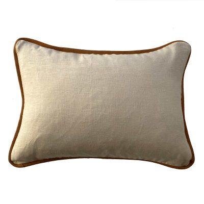 linen cushion 35x50cm tan leather trim