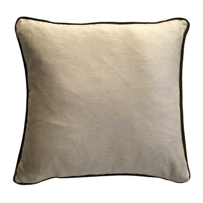 linen cushion with green leather trim