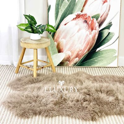 mongolian fur rug - hazelnut quad