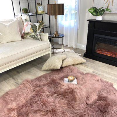 pink shaggy rug icelandic sheepskin