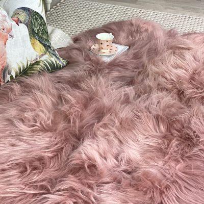 pink shaggy rug - icelandic sheepskin quad