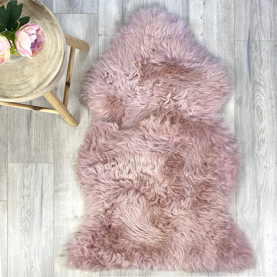 pink sheepskin - dark rose