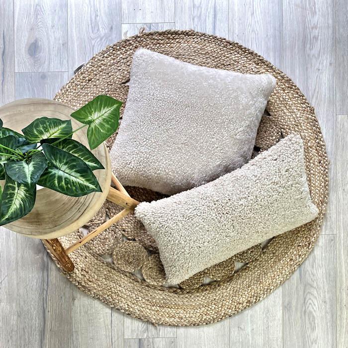 shearling sheepskin cushion linen