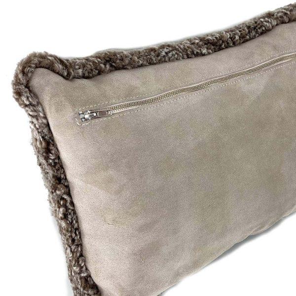 Shearling Sheepskin pillow - sahara back zip
