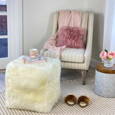 sheepskin foot stool