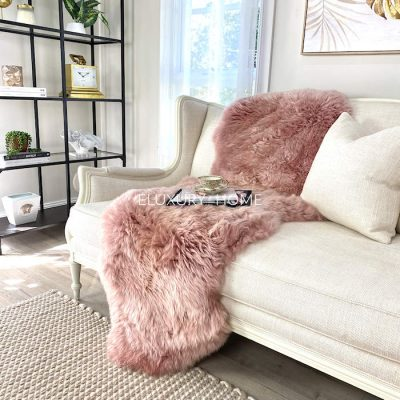 sheepskin throw - pink runner merino