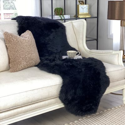 black sheepskin throw for sofa merino runner