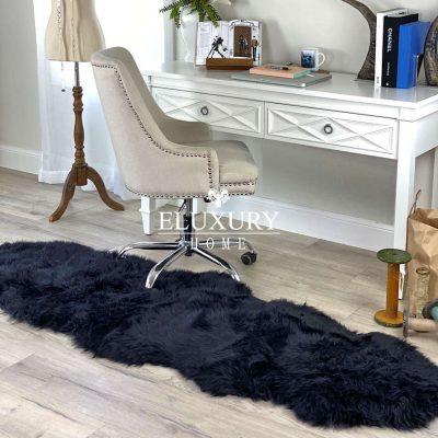 sheepskin rug - black merino runner