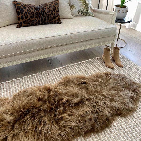 sheepskin rug runner - blonde tip
