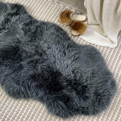 merino sheepskin rug steel grey runner