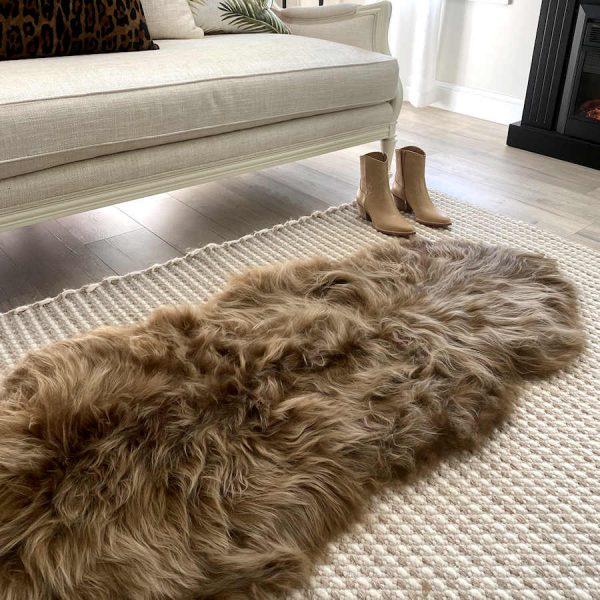 double sheepskin rug blonde tip