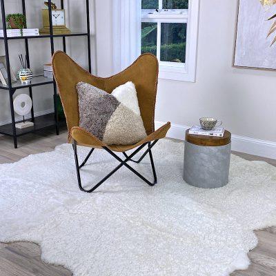 shearling rug white 200x200cm