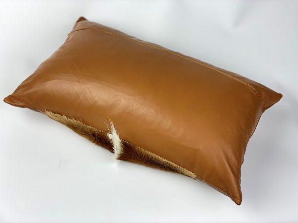 sprinbok cushion - leather back rectangle