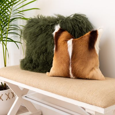 springbok cushion with mongolian olive