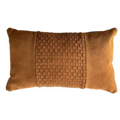Suede leather cushion - tan Weave