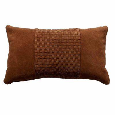 woven leather cushion - cognac